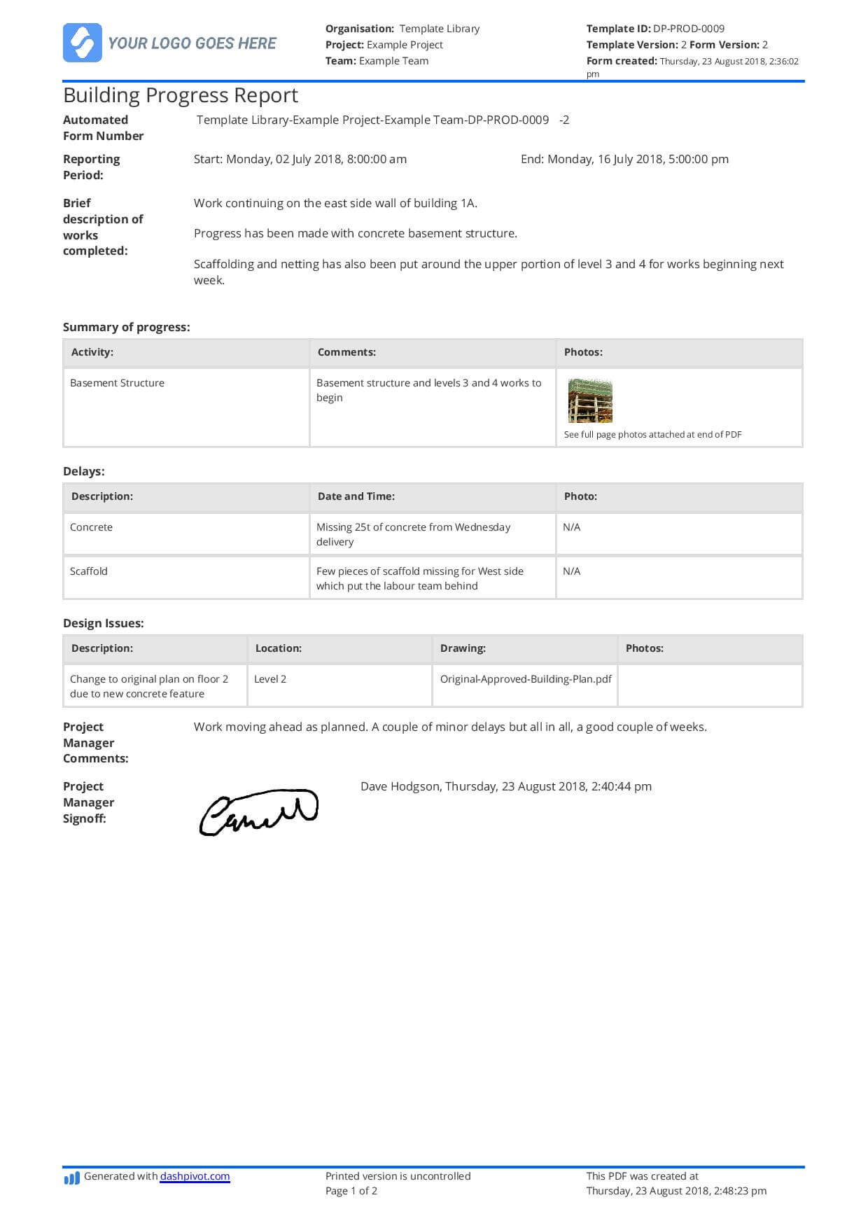 Free Building Construction Progress Report Sample (Customisable) Intended For Site Progress Report Template