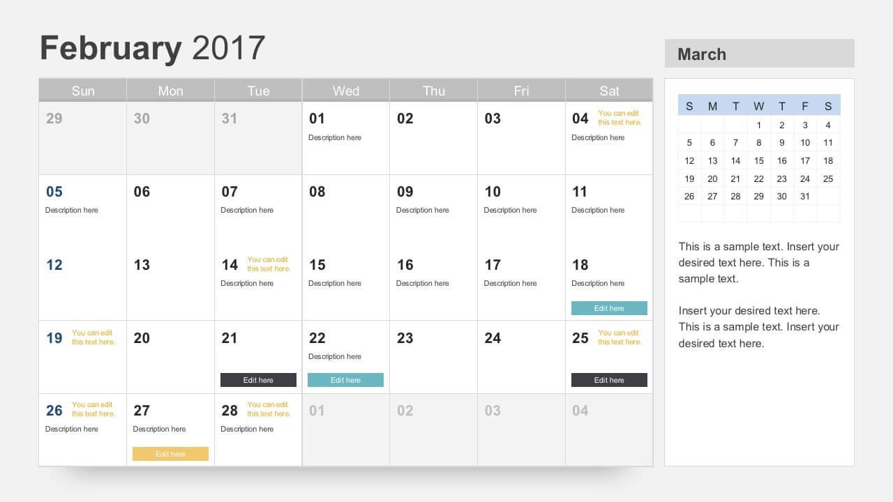 Free Calendar 2017 Template With Regard To Microsoft Powerpoint Calendar Template
