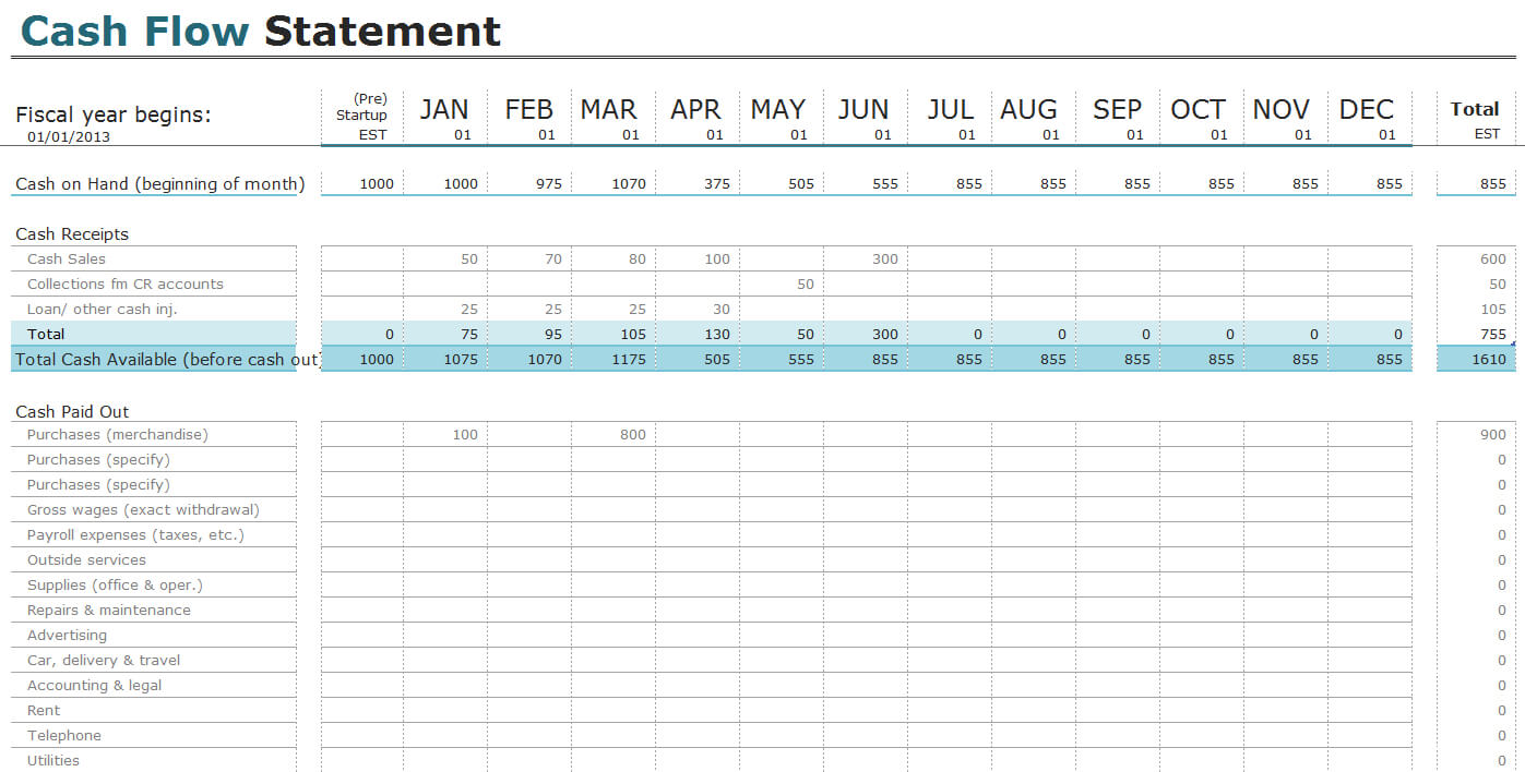 Free Cash Flow Statement Templates For Excel | Invoiceberry Throughout Cash Position Report Template