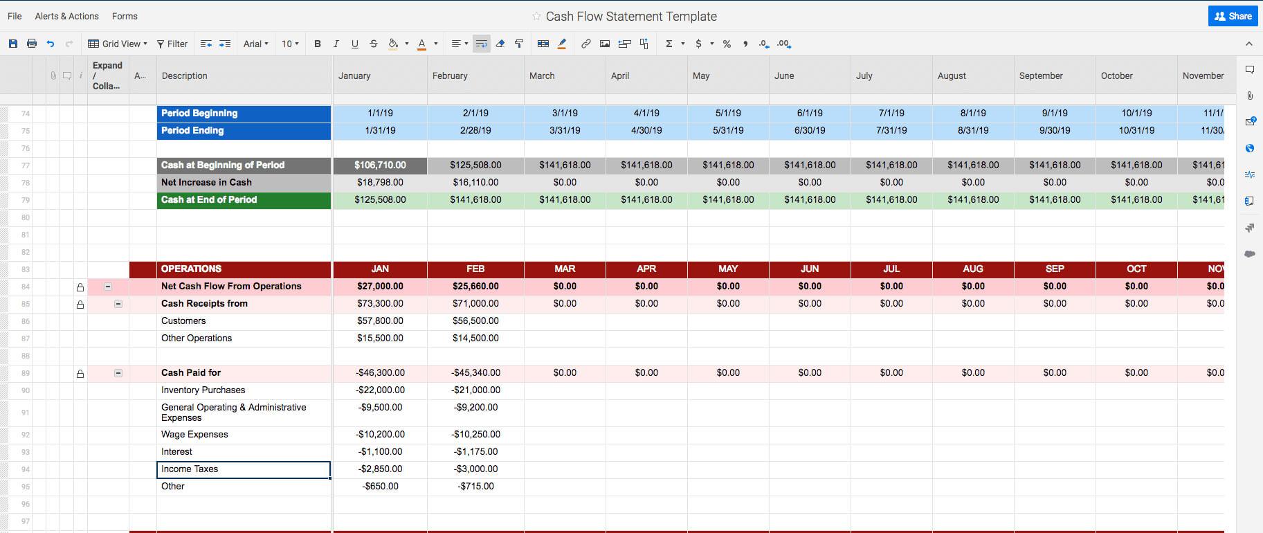 Free Cash Flow Statement Templates | Smartsheet With Cash Position Report Template