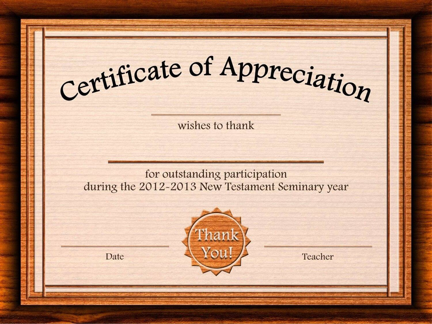 Free Certificate Of Appreciation Templates For Word Pertaining To Participation Certificate Templates Free Download