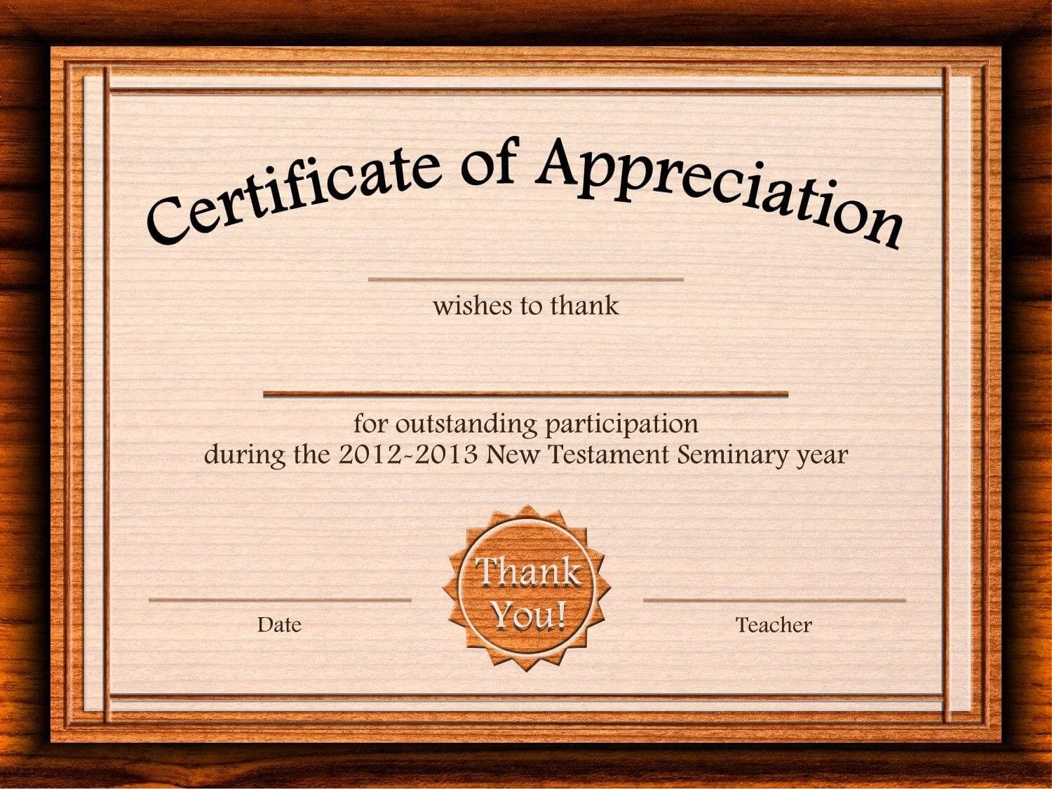 Free Certificate Of Appreciation Templates For Word Regarding Free Templates For Certificates Of Participation