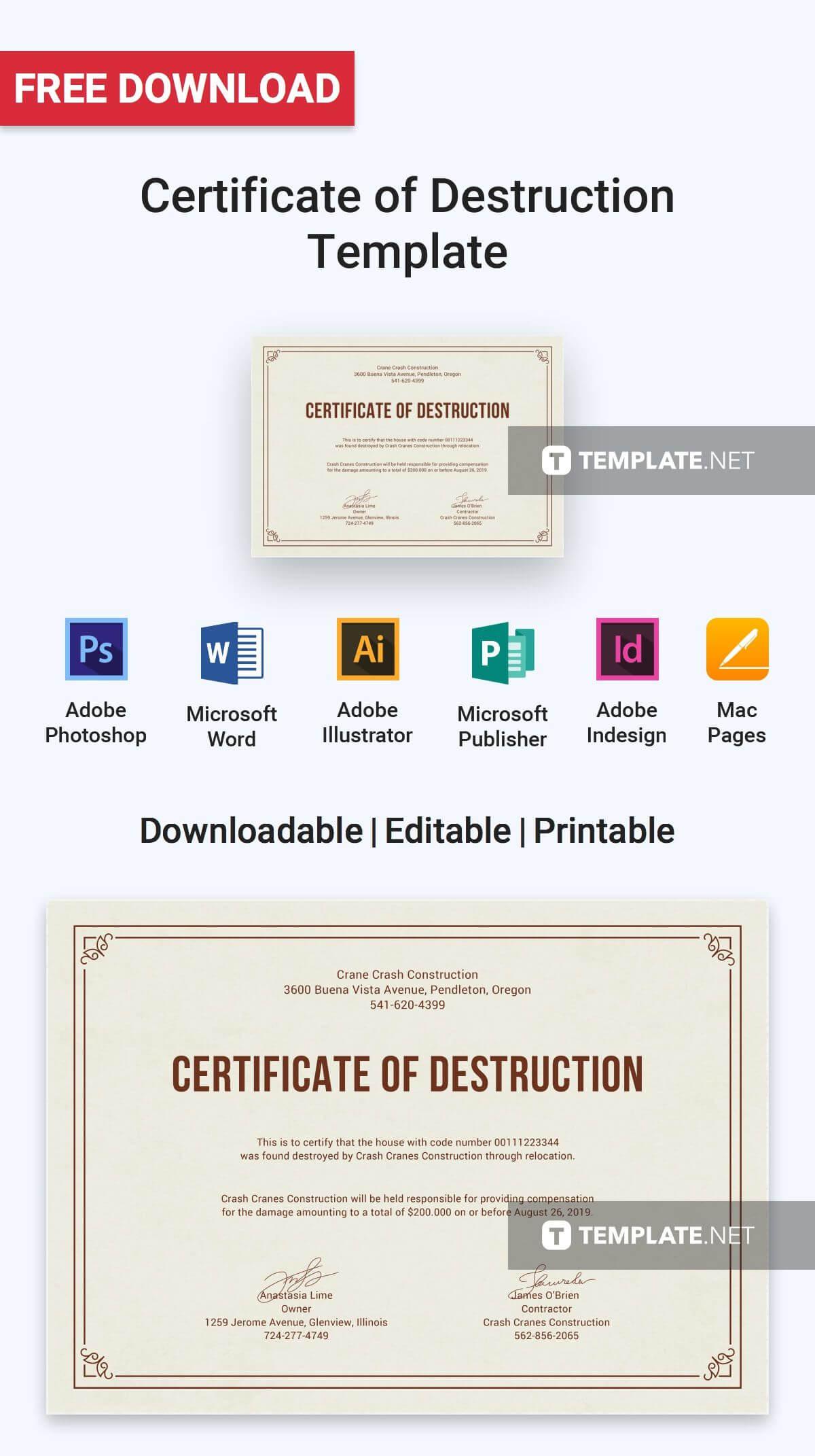 Free Certificate Of Destruction | Certificate Templates Regarding Destruction Certificate Template