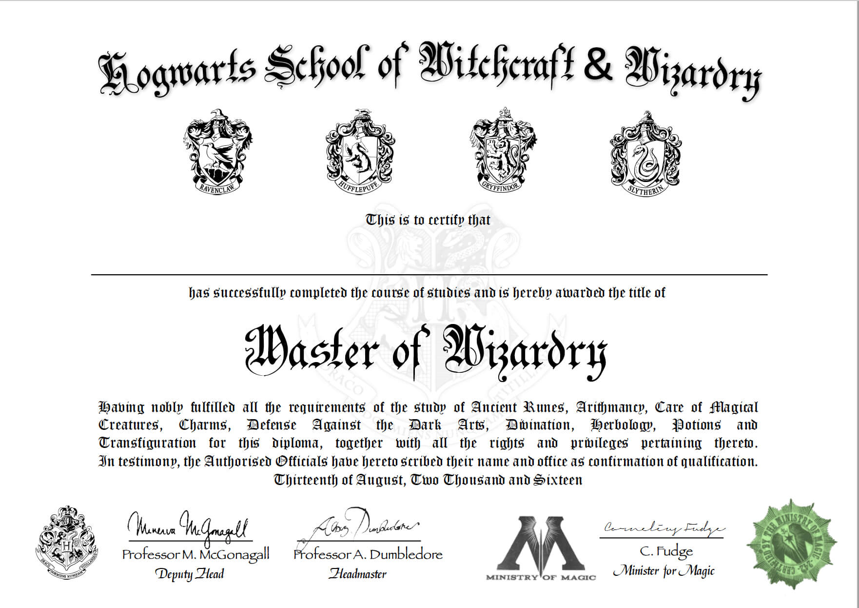 Free Certificate Of Hogwarts To Download And Use   Harry Pertaining To Harry Potter Certificate Template