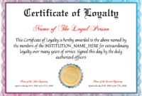 Free Certificate Of Loyalty At Clevercertificates In for Recognition Of Service Certificate Template