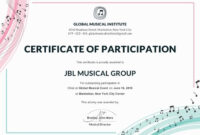 Free Choir Certificate Of Participation | Certificate intended for Choir Certificate Template