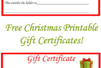Free Christmas Printable Gift Certificates | Christmas Gift intended for Free Christmas Gift Certificate Templates