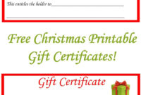 Free Christmas Printable Gift Certificates   Christmas Gift within Gift Certificate Log Template