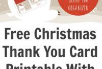 Free Christmas Thank You Card Printable With Tracker throughout Christmas Thank You Card Templates Free