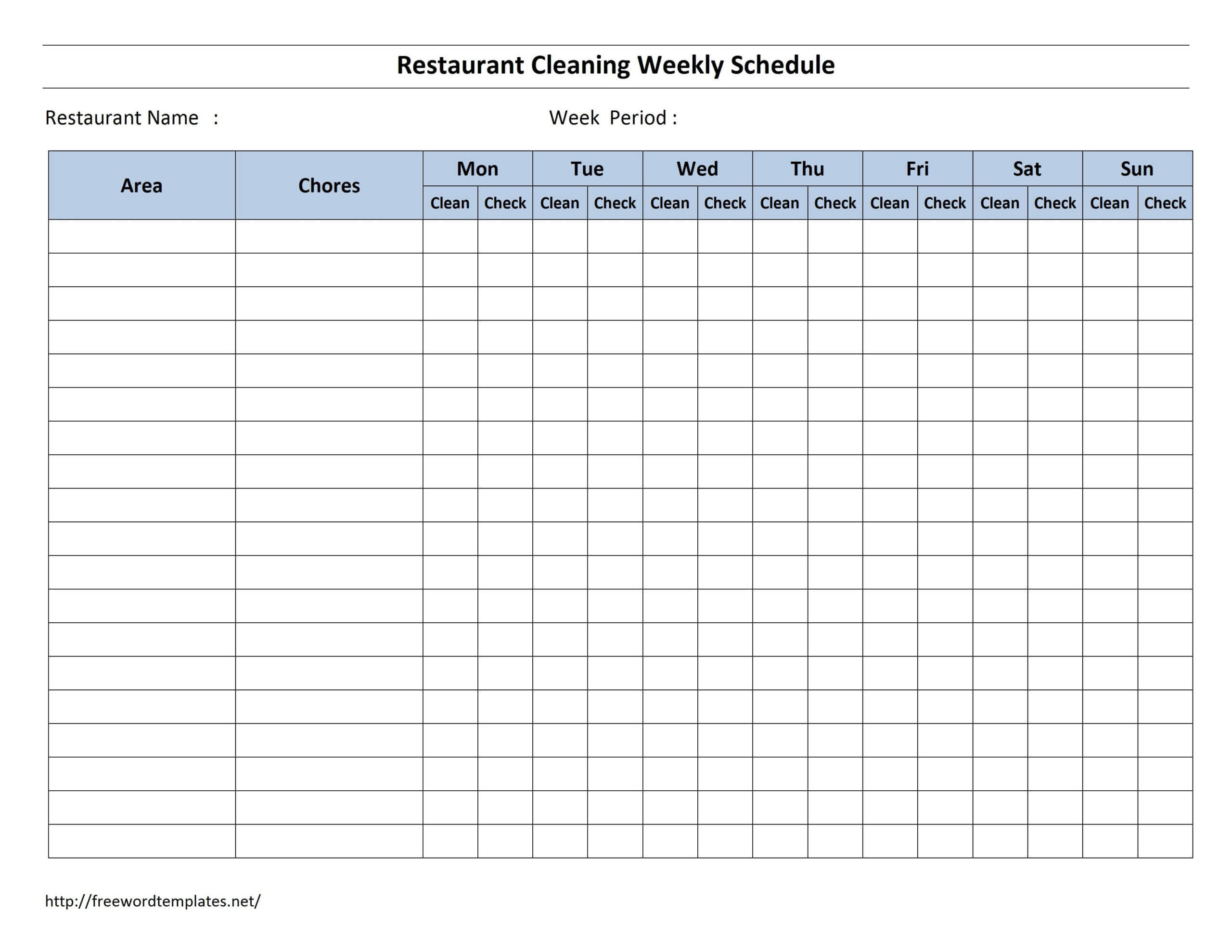 Free Cleaning Schedule Forms | Excel Format And Payroll Throughout Blank Cleaning Schedule Template