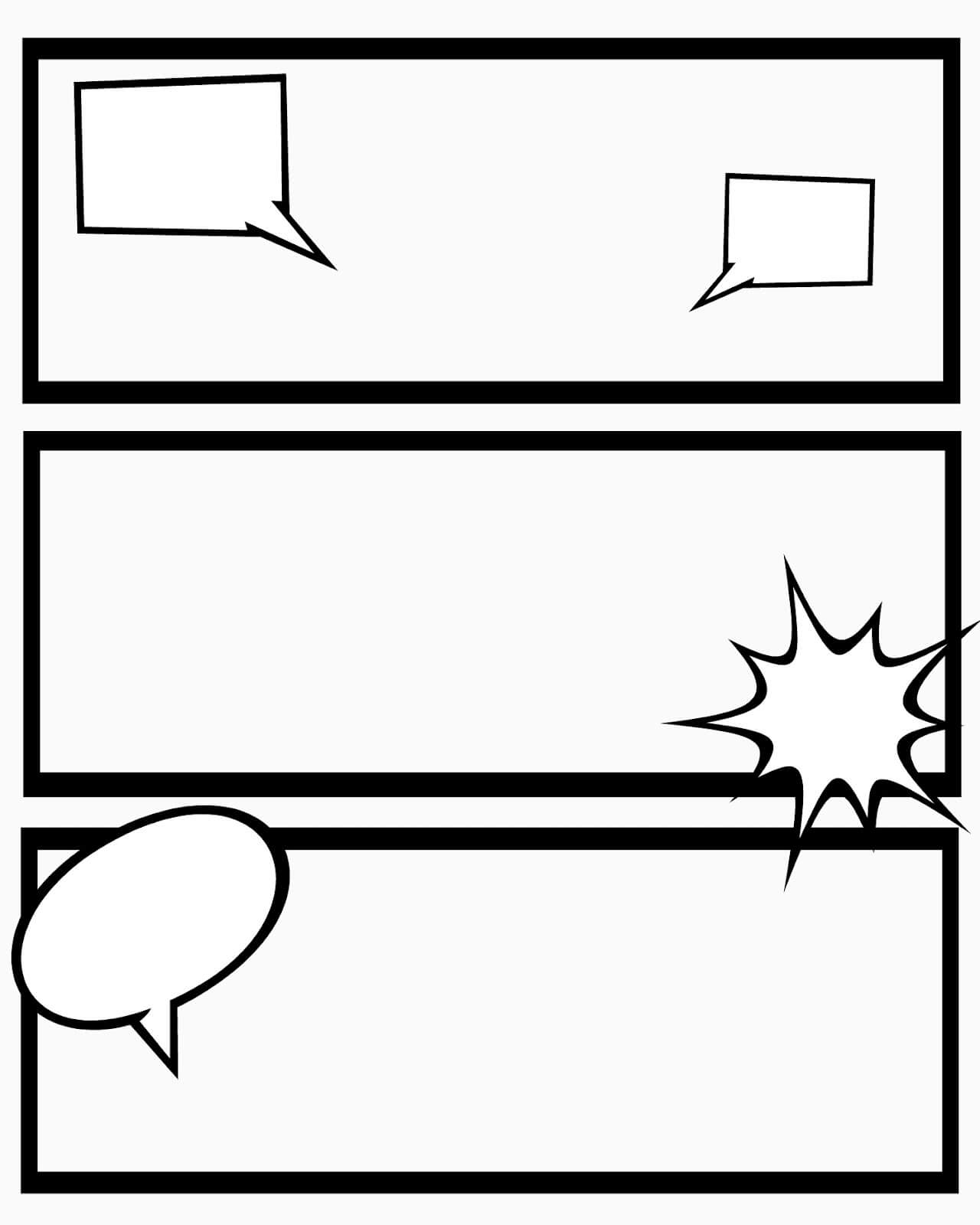 Free Comic Book Templates] Free Comic Book Templates For Printable Blank Comic Strip Template For Kids