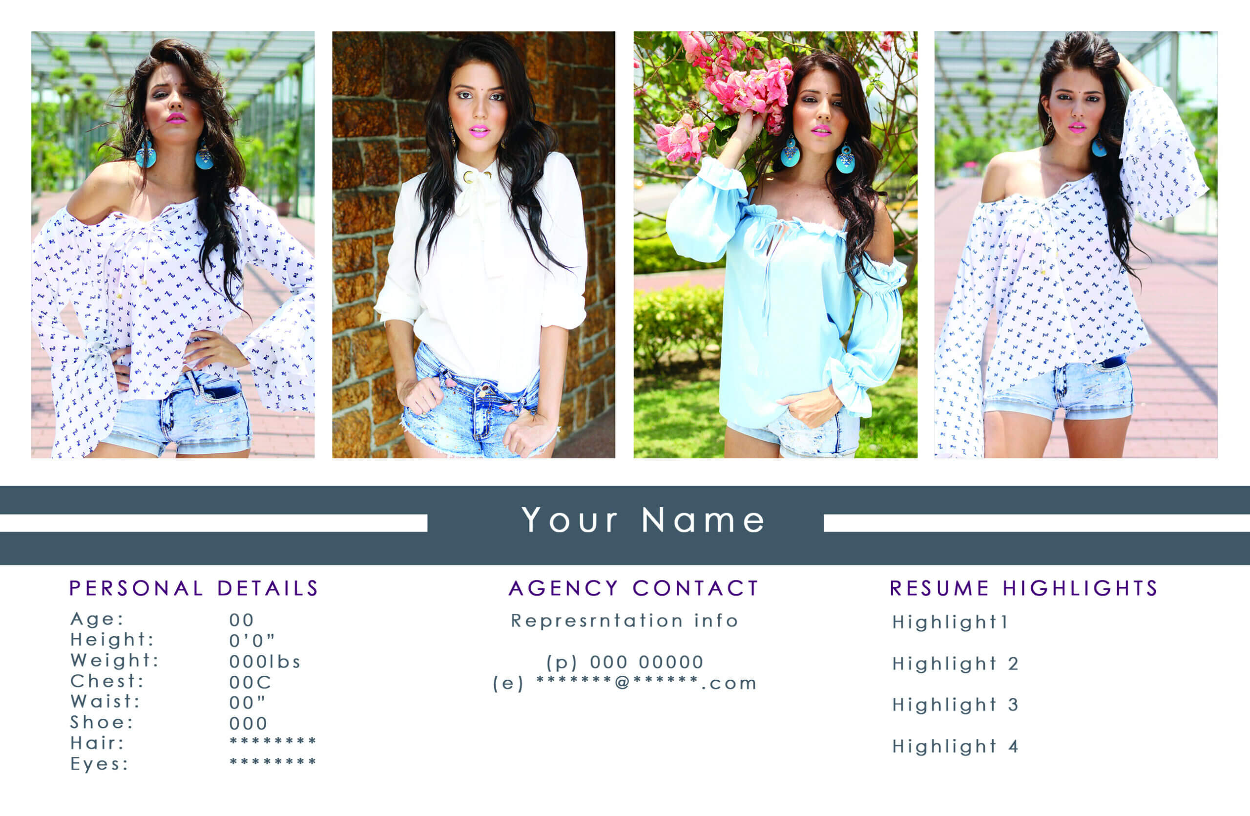 Free Comp Card Templates For Actor & Model Headshots Intended For Free Model Comp Card Template Psd