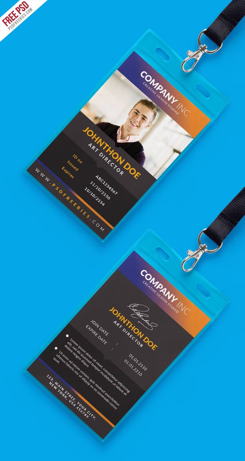 Free Creative Identity Card Design Template Psd | Inspirasi Intended For Id Card Design Template Psd Free Download