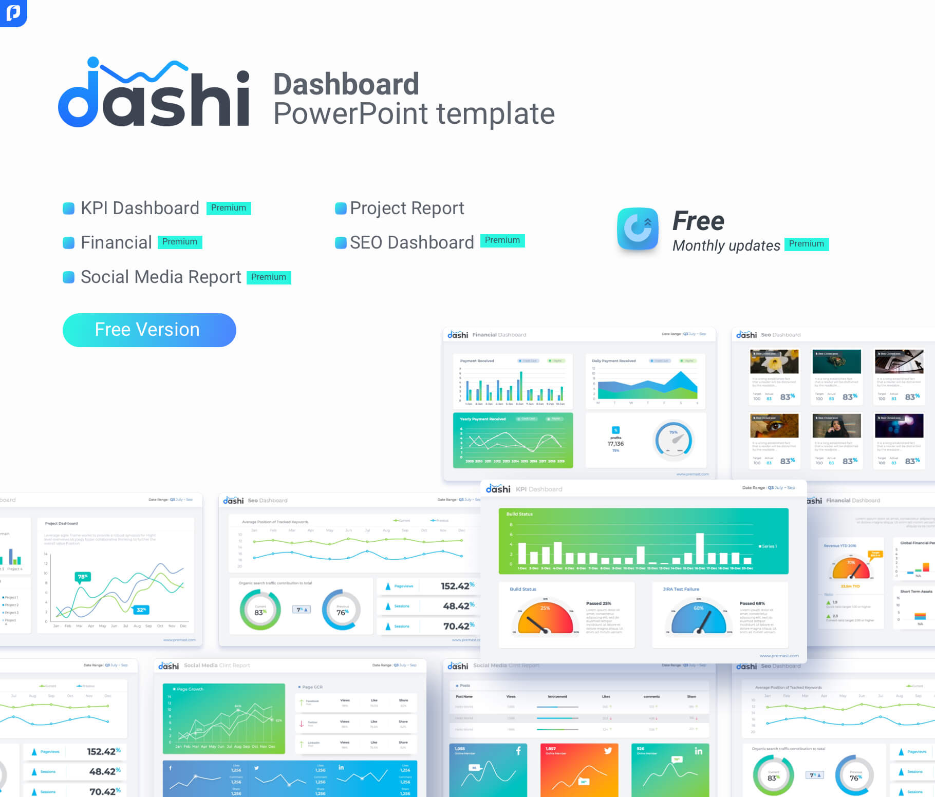 Free Dashboard Powerpoint Template - Ppt Presentation Inside Project Dashboard Template Powerpoint Free