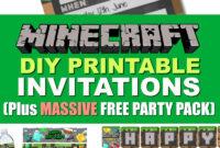 Free Diy Printable Minecraft Birthday Invitation – Clean for Minecraft Birthday Card Template