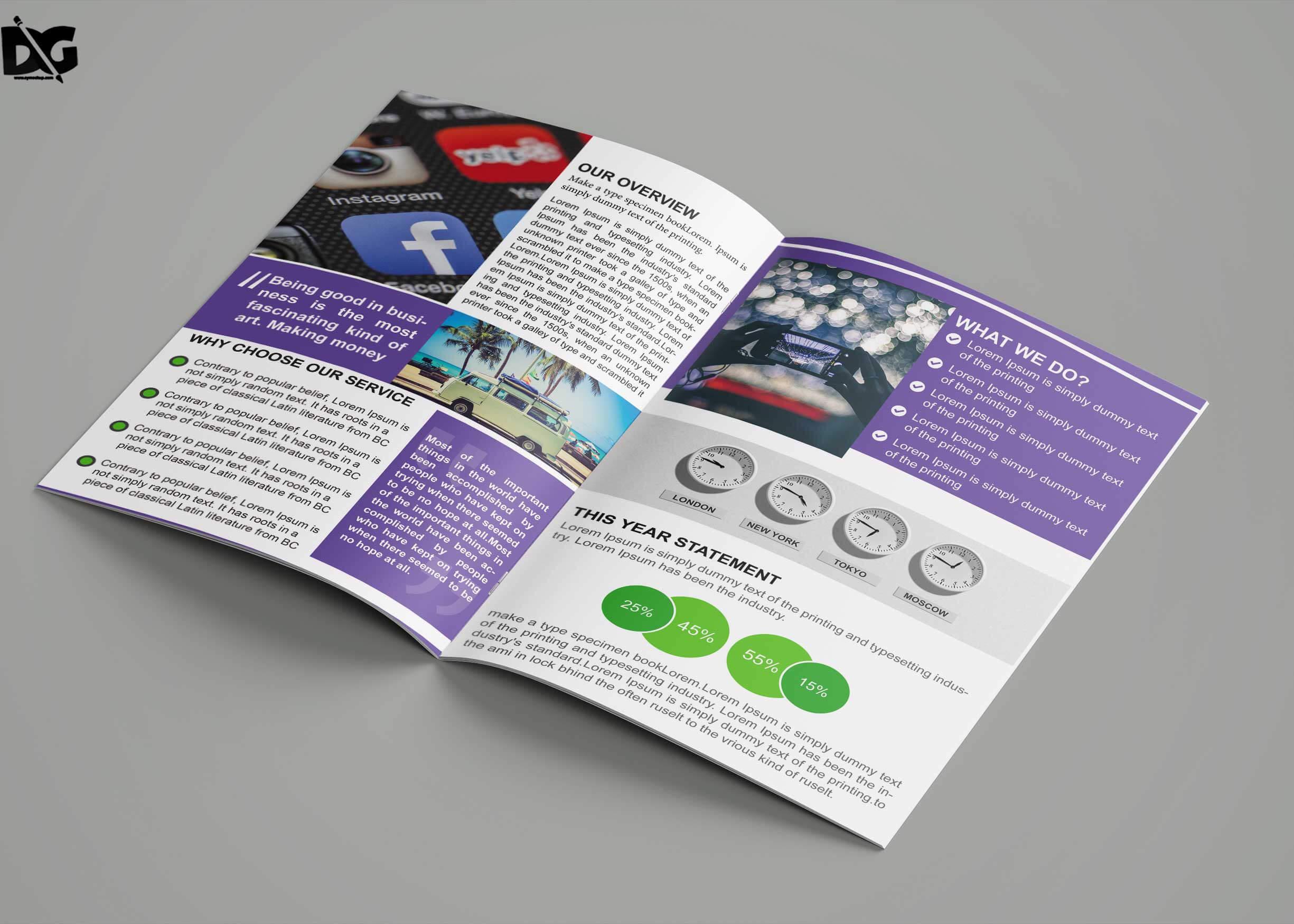 Free Download Bi Fold Social Media Company Brochure Template Regarding Social Media Brochure Template