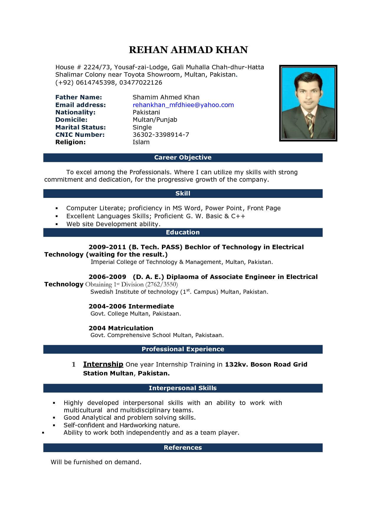 Free Download Cv Format In Ms Word Fieldstationco Microsoft Pertaining To Simple Resume Template Microsoft Word