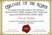 Free Employee Of The Month Certificate Template At Pertaining To Employee Of The Month Certificate Templates