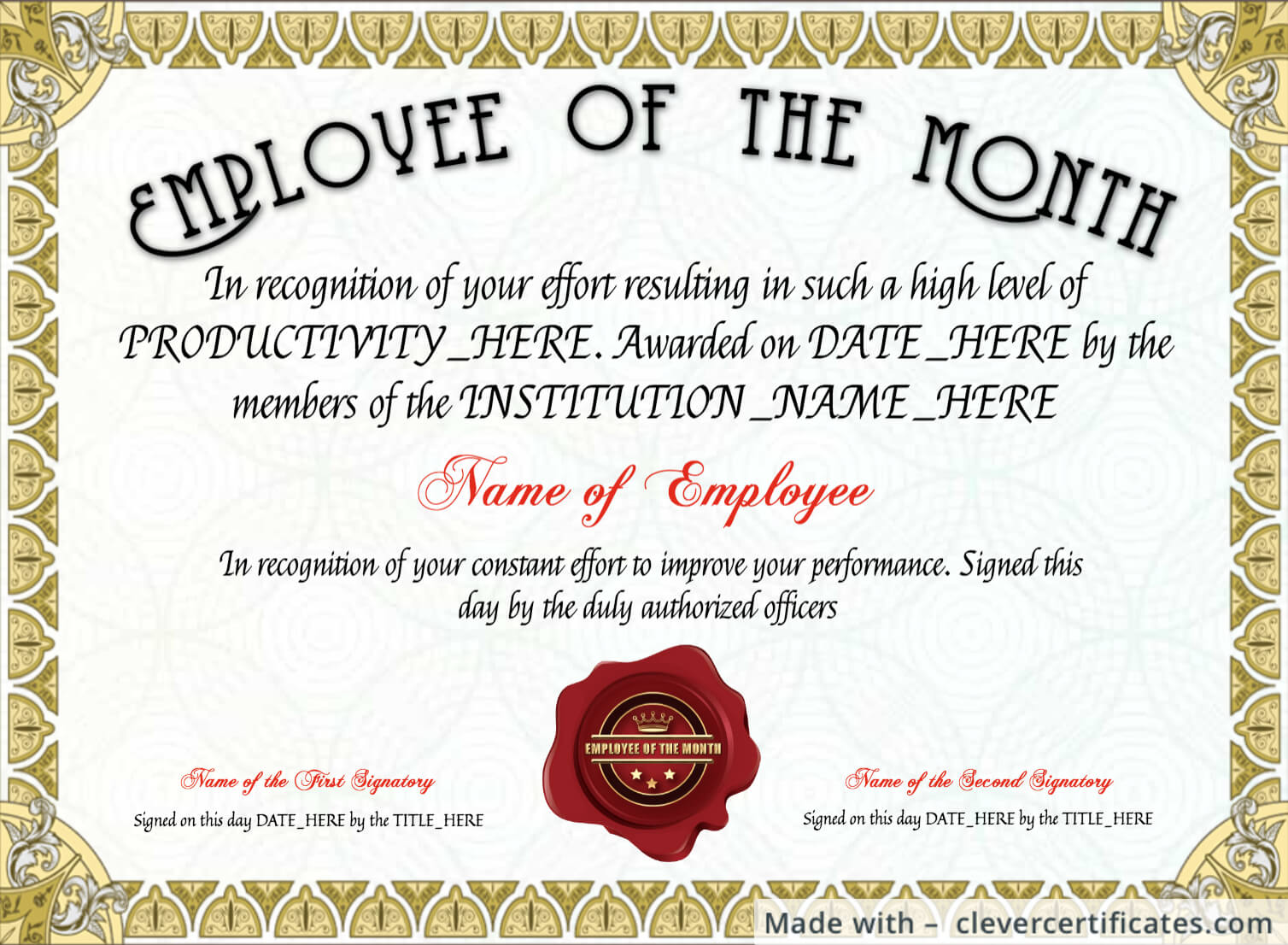 Free Employee Of The Month Certificate Template At Regarding Employee Of The Month Certificate Template