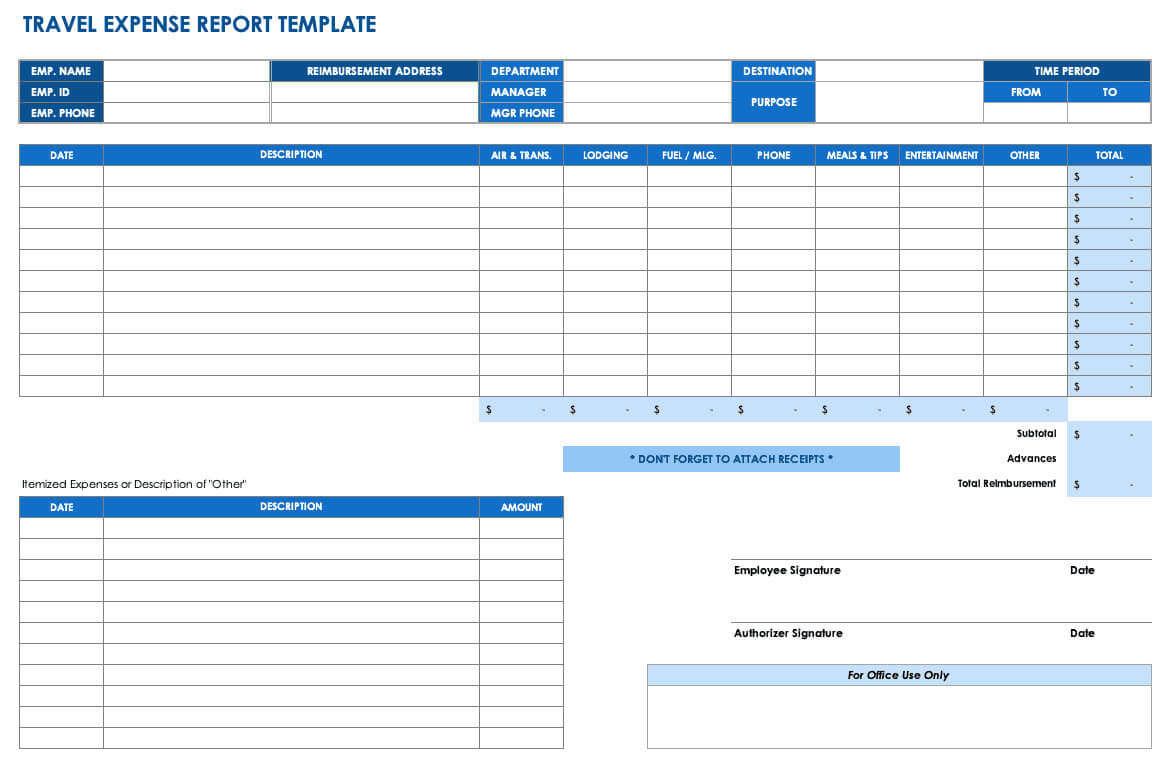 Free Expense Report Templates Smartsheet With Gas Mileage Expense Report Template