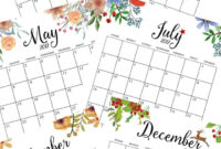 Free Floral 2020 Printable Calendar | Free Printable regarding Month At A Glance Blank Calendar Template