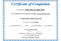 Free Florida Premarital Course Online Licensed Provider Only inside Premarital Counseling Certificate Of Completion Template