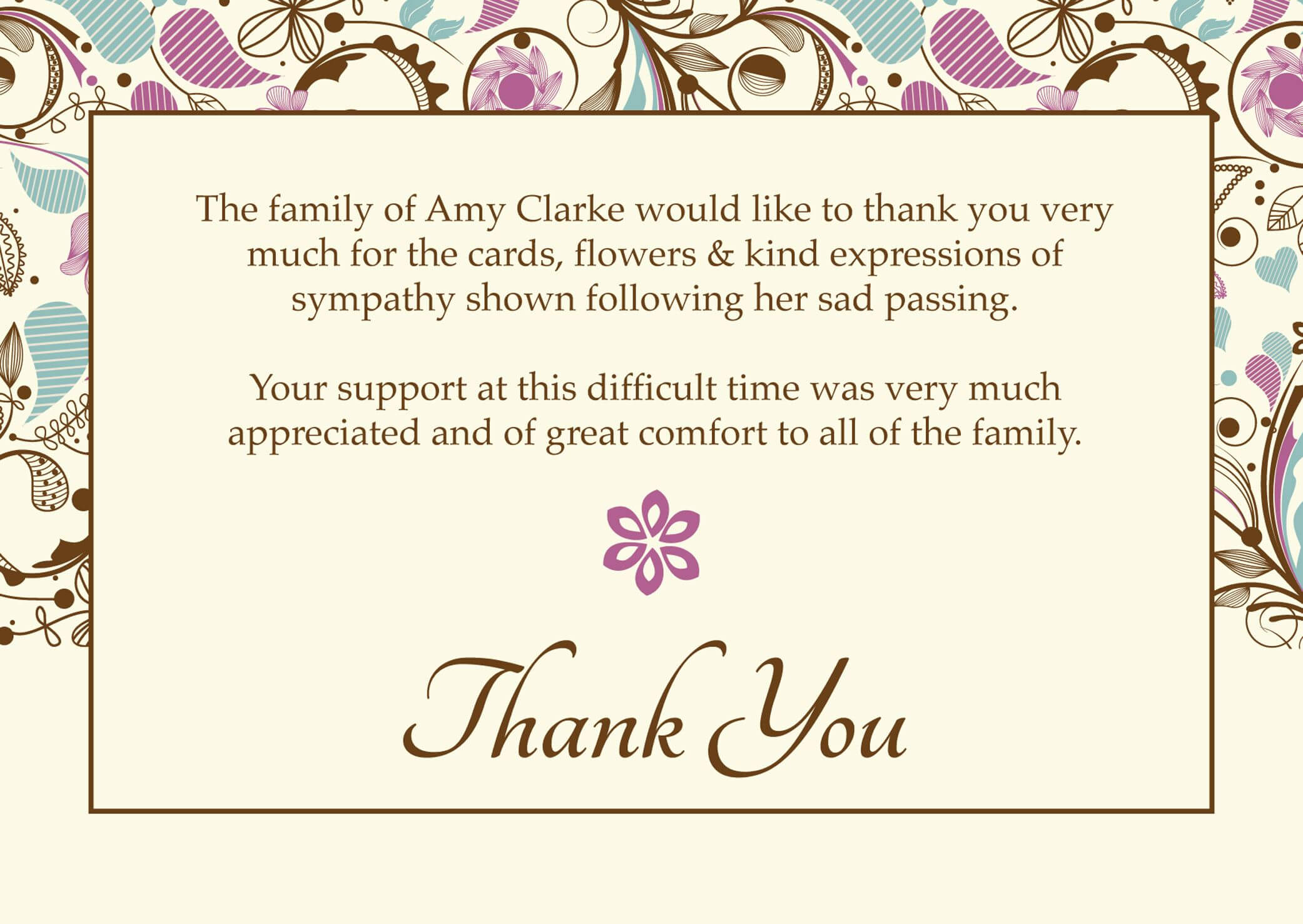 Free Funeral Thank You Cards Templates Ideas | Funeral Thank For Sympathy Thank You Card Template