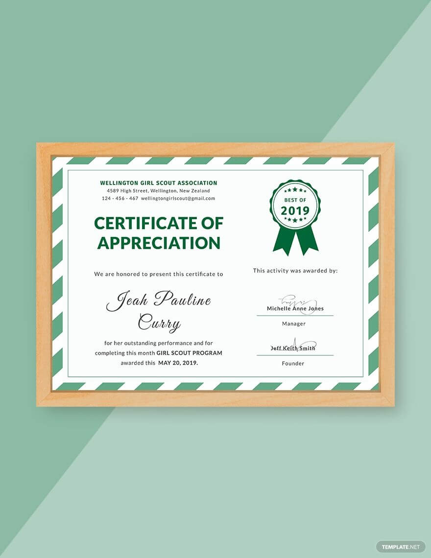 Free Girl Scout Certificate Of Appreciation | Certificate Of Inside Indesign Certificate Template