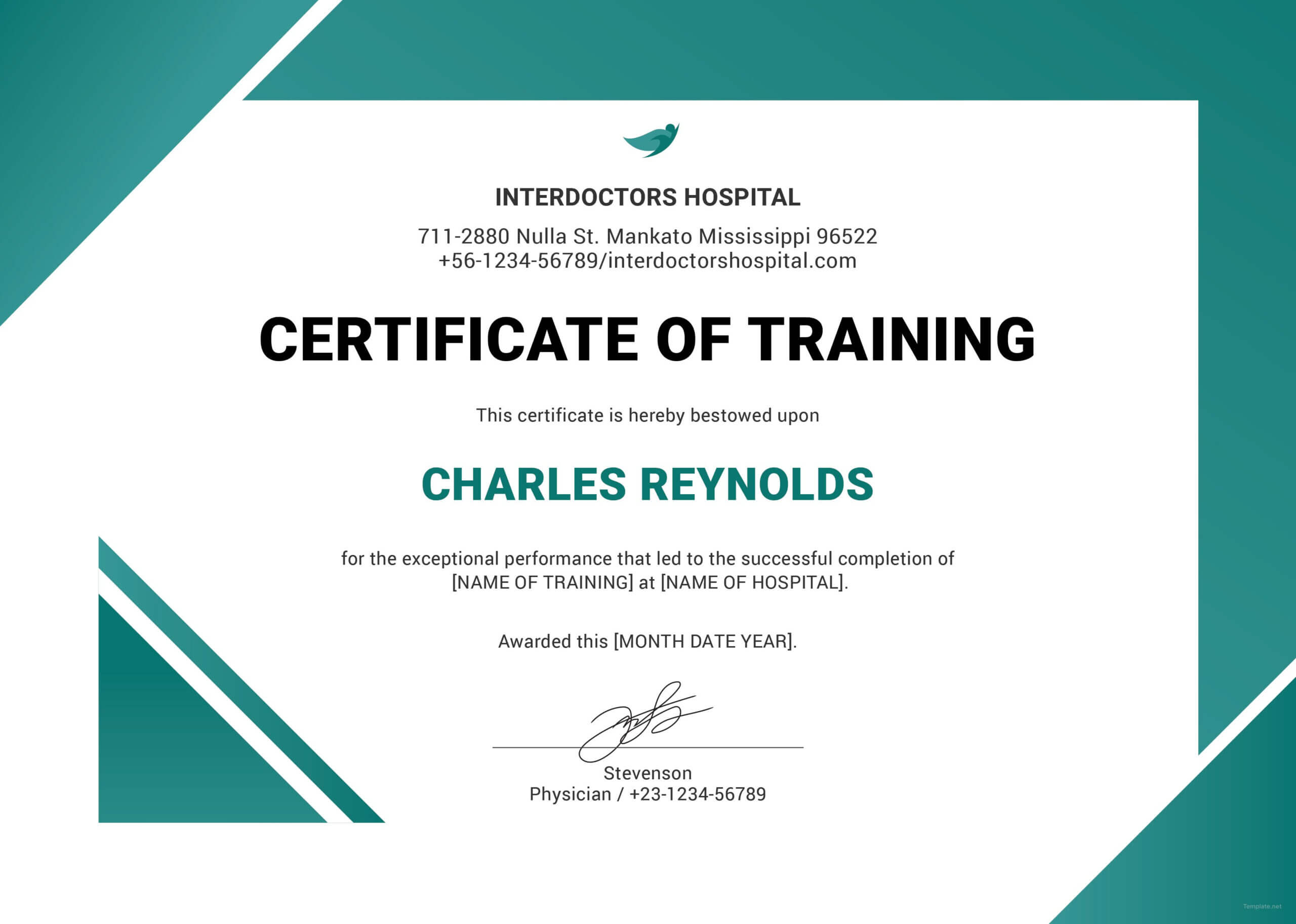 Free Hospital Training Certificate | Training Certificate Within Template For Training Certificate