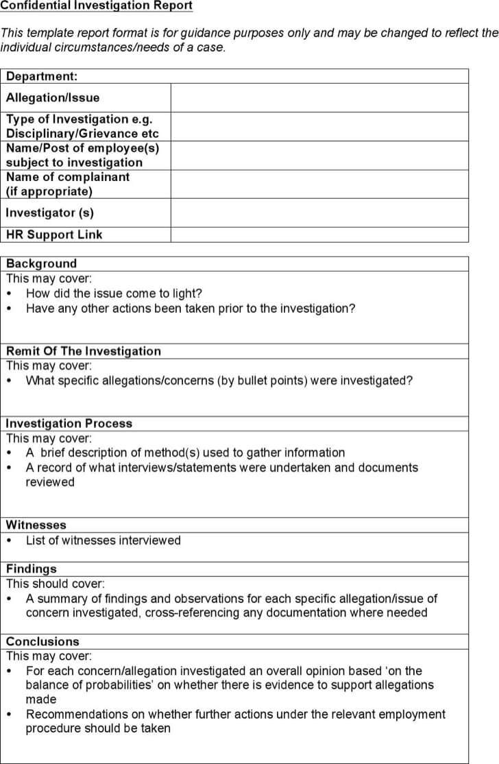 Free Hr Investigation Report Emplate Format Doc Pdf Sample Inside Investigation Report Template Doc