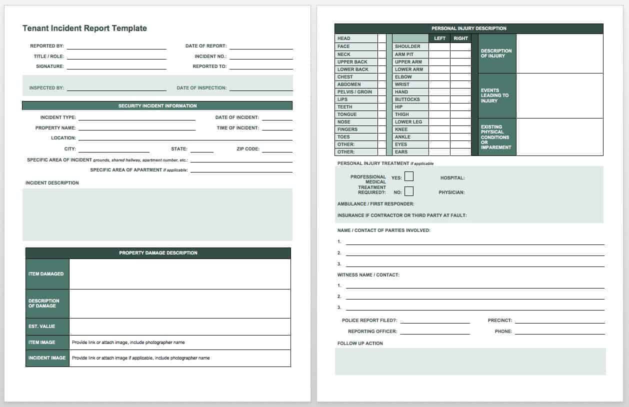 Free Incident Report Templates & Forms | Smartsheet With Insurance Incident Report Template
