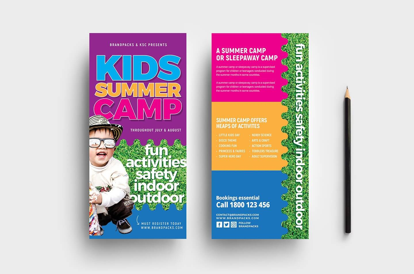 Free Kid's Camp Flyer & Brochure Template In Psd, Ai For Summer Camp Brochure Template Free Download