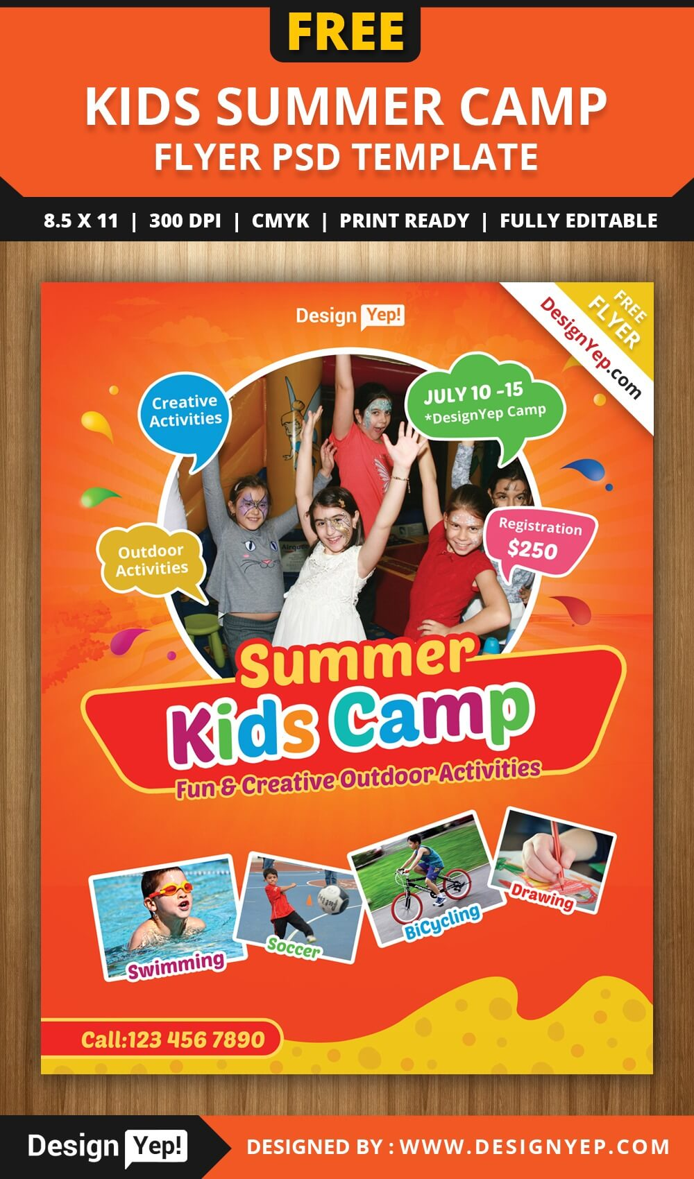 Free Kids Summer Camp Flyer Psd Template On Behance In Summer Camp Brochure Template Free Download