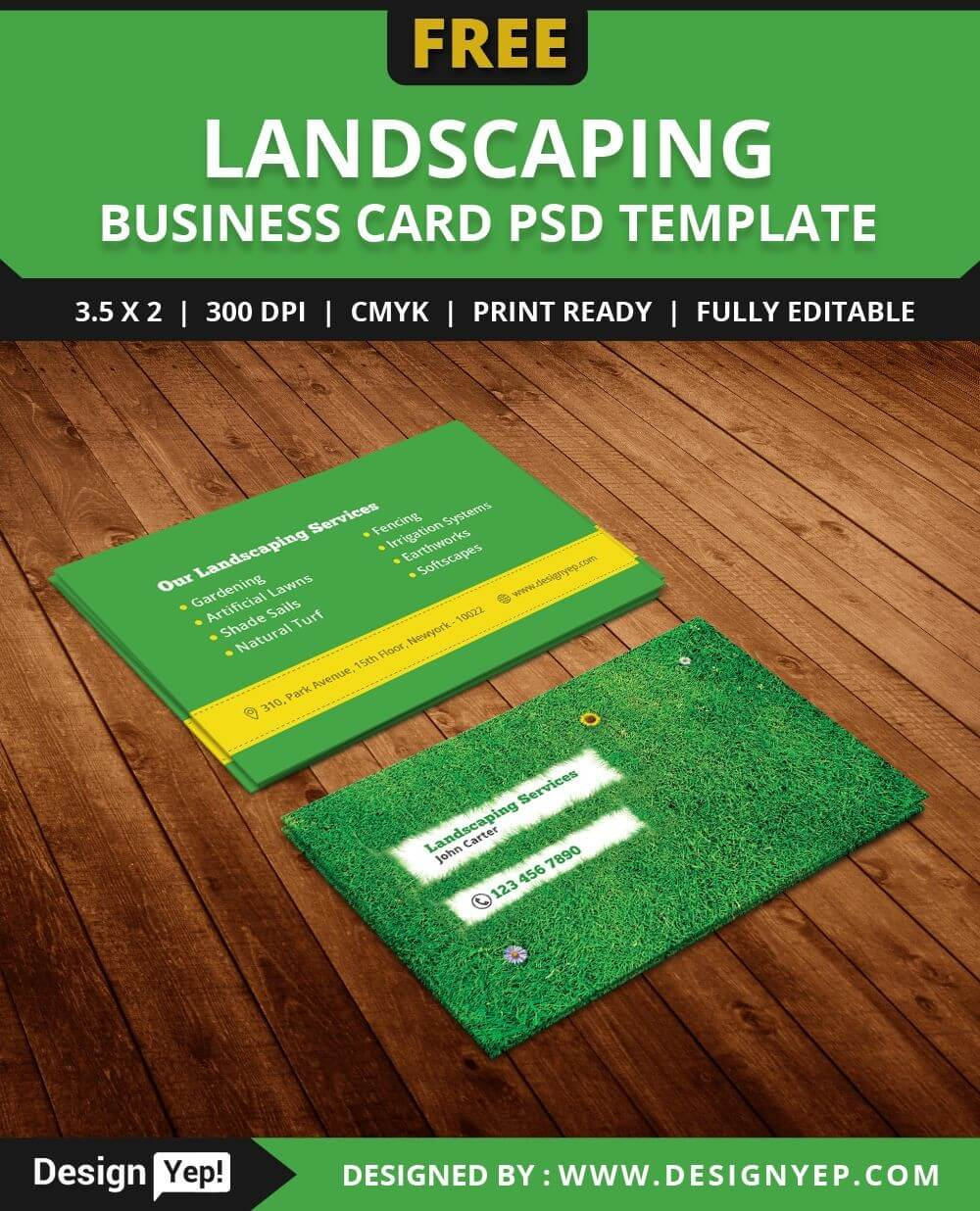 Free Landscaping Business Card Template Psd | Free Business Regarding Lawn Care Business Cards Templates Free