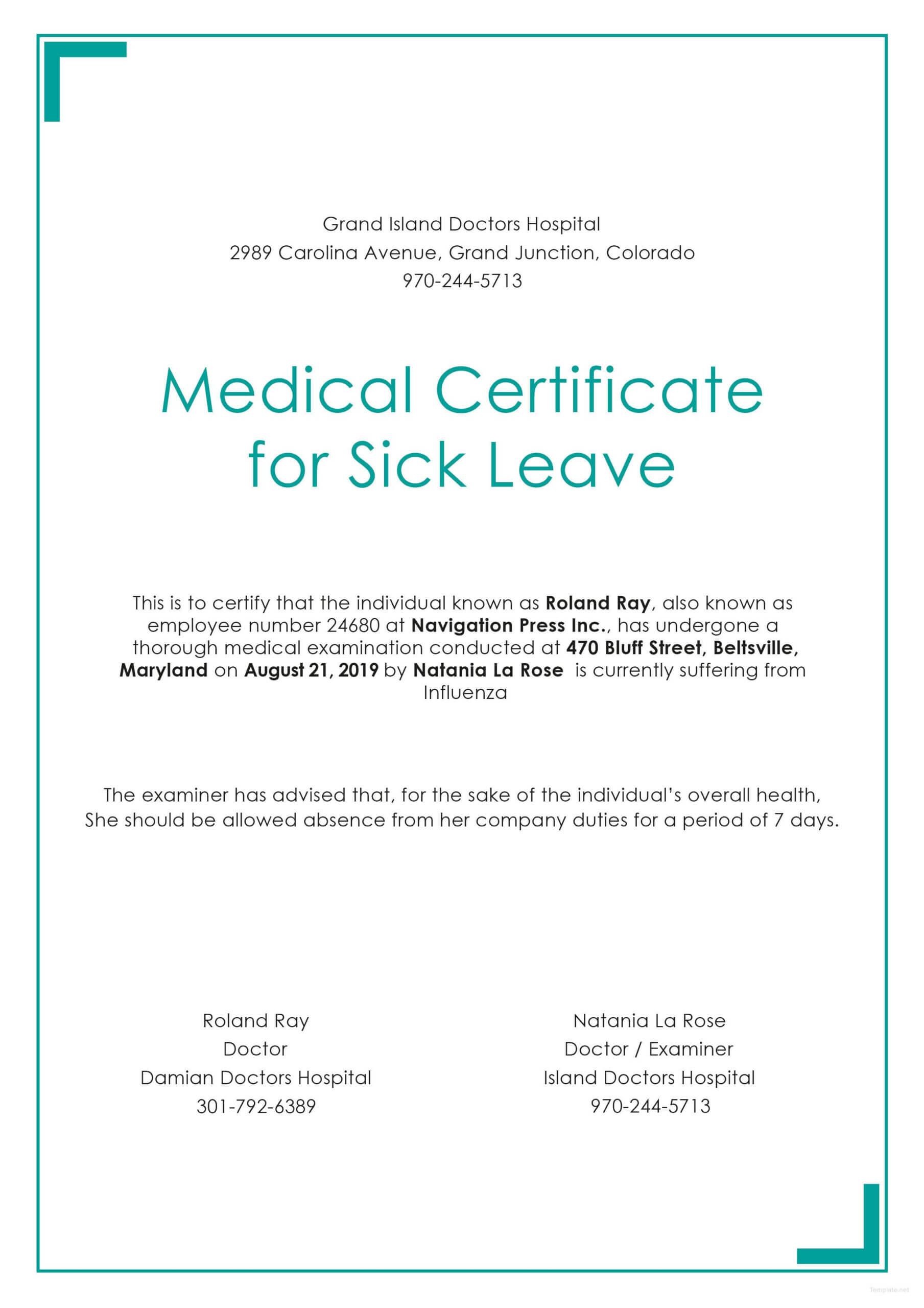 Free Medical Certificate For Sick Leave | Medical Regarding Medical Report Template Free Downloads