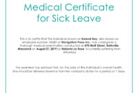 Free Medical Certificate For Sick Leave | Medical within Certificate Of Inspection Template