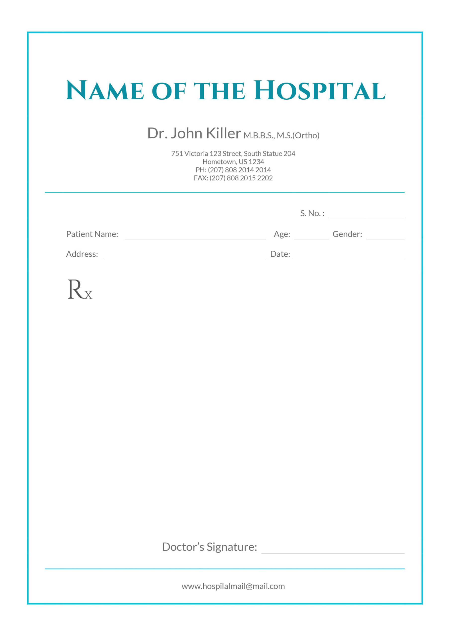 Free Medical Prescription Format | Medical Prescription Pertaining To Doctors Prescription Template Word