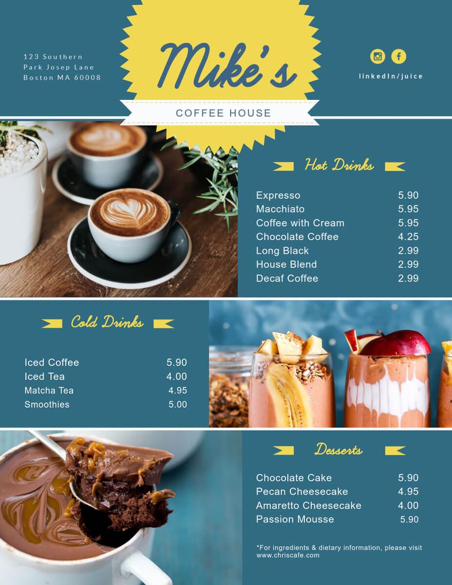 Free Menu Maker | Menu Creator | Visme With Regard To Frequent Diner Card Template
