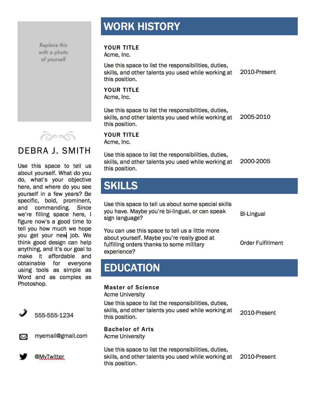 Free Microsoft Word Resume Template | Microsoft Word Resume Within Microsoft Word Resumes Templates