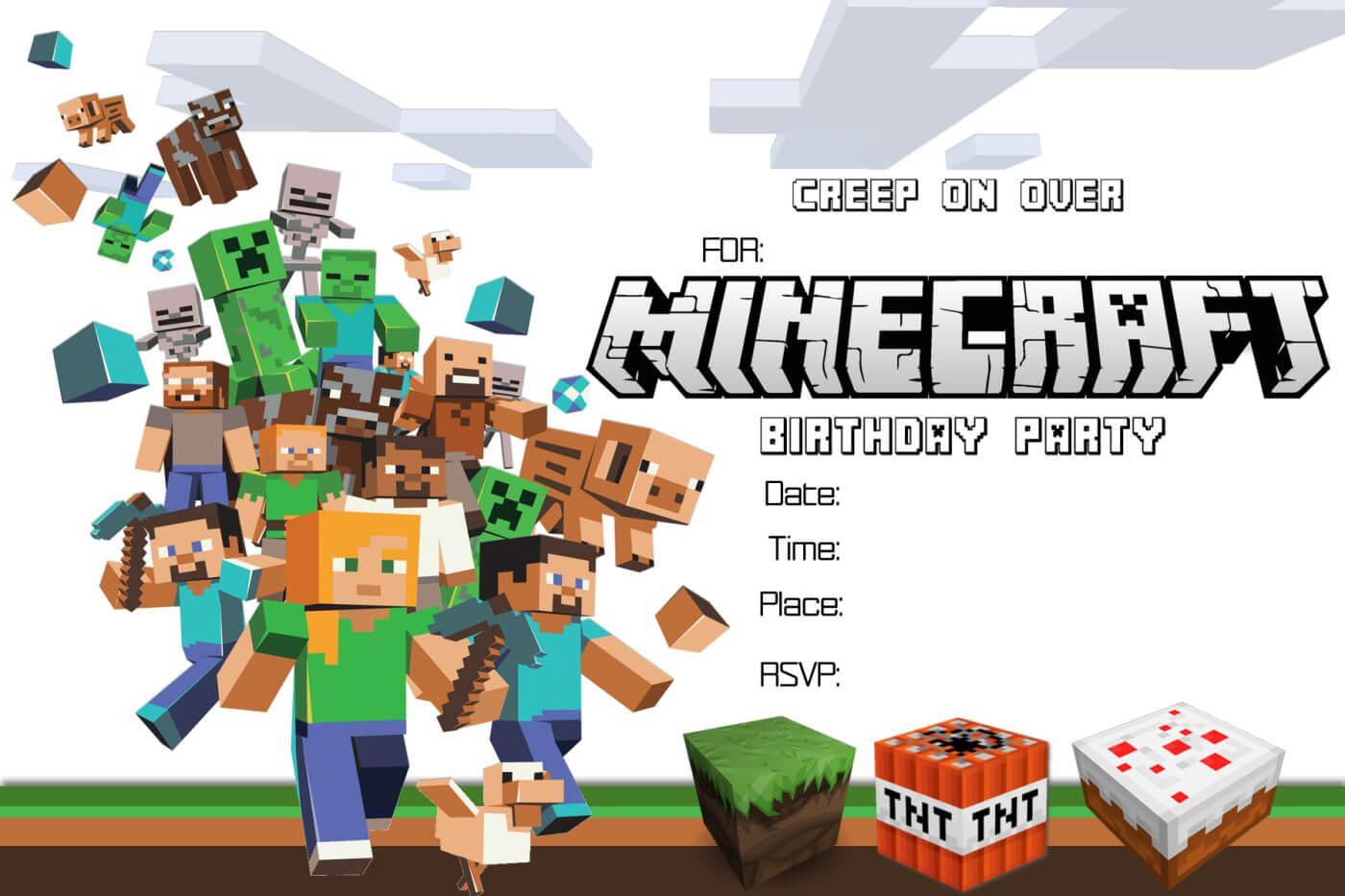 Free Minecraft Birthday Invitation Printable With Minecraft Birthday Card Template