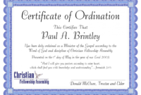 Free Minister Ordination Certificate Clean Best S Of within Free Ordination Certificate Template