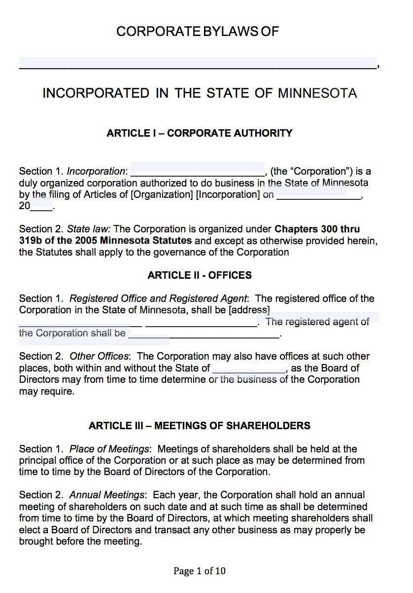 Free Minnesota Corporate Bylaws Template | Pdf | Word | Pertaining To Corporate Bylaws Template Word
