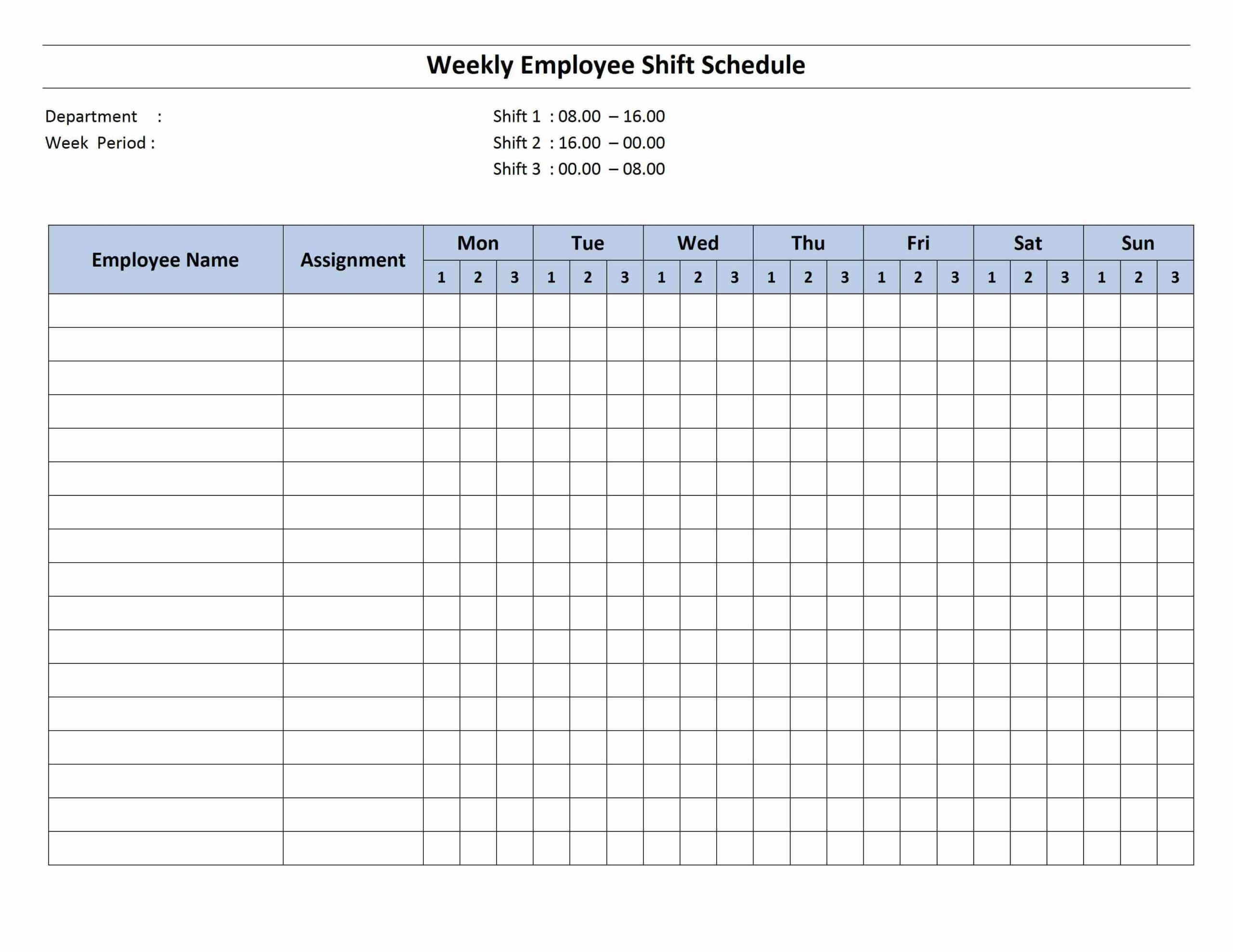 Free Monthly Work Schedule Template | Weekly Employee 8 Hour Throughout Blank Monthly Work Schedule Template