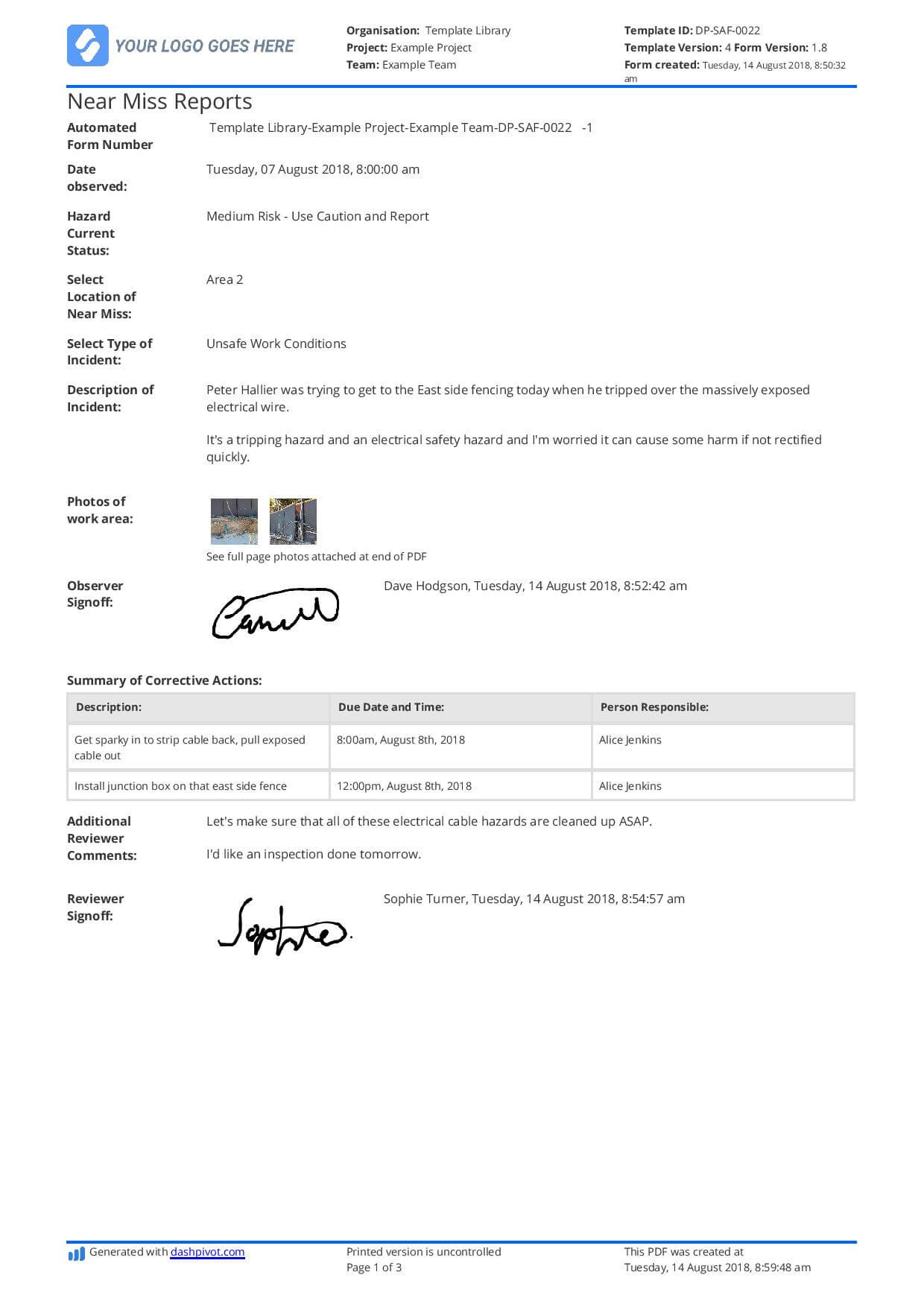 Free Near Miss Reporting Template (Easily Customisable) Throughout Near Miss Incident Report Template