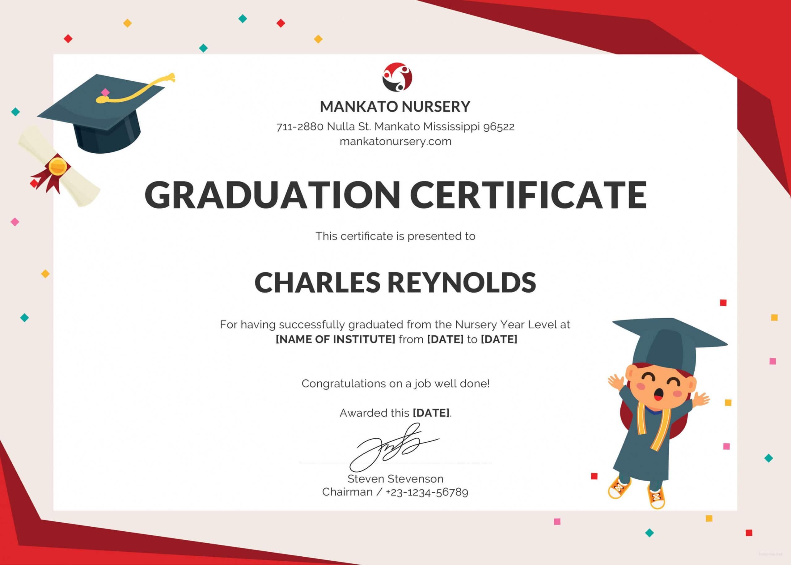 Free Nursery Graduation Certificate Template In Psd Ms With Regard To 5Th Grade Graduation Certificate Template