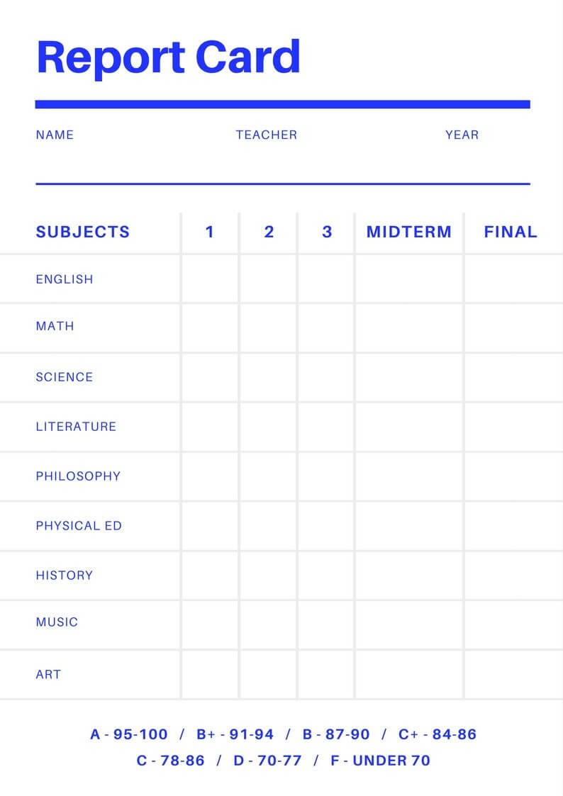 Free Online Report Card Maker: Design A Custom Report Card Inside Fake College Report Card Template