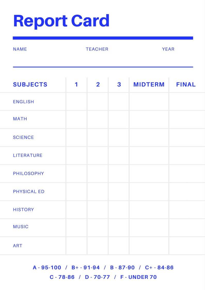 Free Online Report Card Maker: Design A Custom Report Card With Regard To College Report Card Template