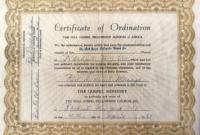 Free Pastor Ordination   Ordination Certificate with regard to Free Ordination Certificate Template
