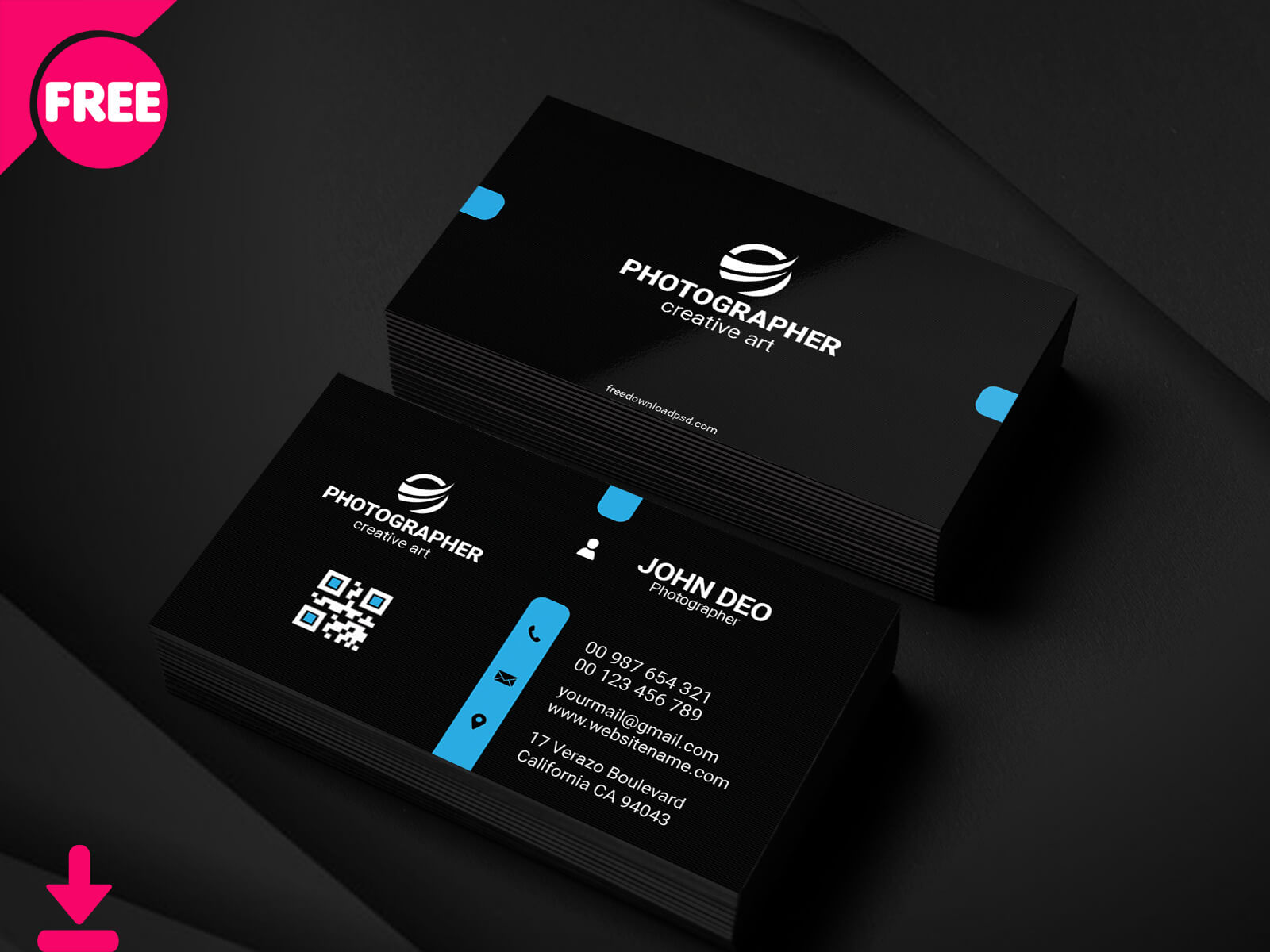 Free Personal Business Card Psd Template Cover | Searchmuzli In Free Personal Business Card Templates