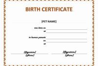 Free Pet Birth Certificate Template – Zimer.bwong.co within Baby Doll Birth Certificate Template